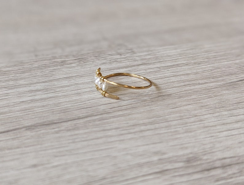 gift for women Hammered gold filled and pearl ring dainty pearl ring boutique ring june birthstone delicate stacking ring cuff ring