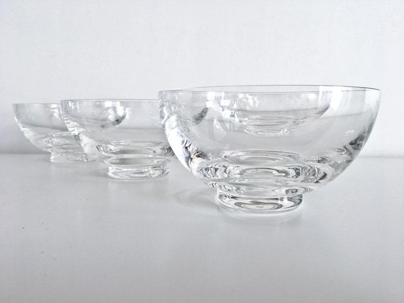 4 magnifiques coupés en verre crystal vintage - Grands bols en cristal - Français Bols Dessert - Mid century modern - Lunettes soufflées à la main - France 60s