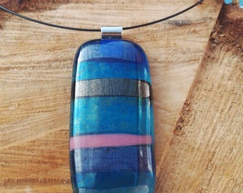 Large fused glass pendant with metallic stripes, iridised glass pendant, magnetic choker, iridised glass, glass jewellery, reactive glass