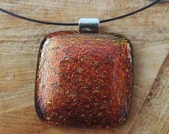 Sparkly cherry dichroic glass pendant, large dichroic glass pendant, red glass, fused glass jewellery, sparkly pendant, magnetic choker