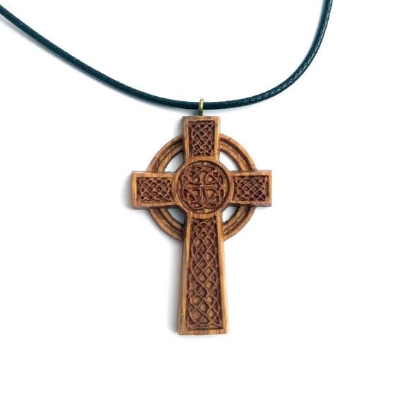 Handcrafted Wood Cross Necklace Mens Celtic Cross Necklace Irish Cross Pendant
