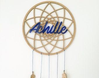 Attrape-rêve en bois avec prénom personnalisé et plumes en bois et naturelles / cadeau naissance ou chambre d'enfant