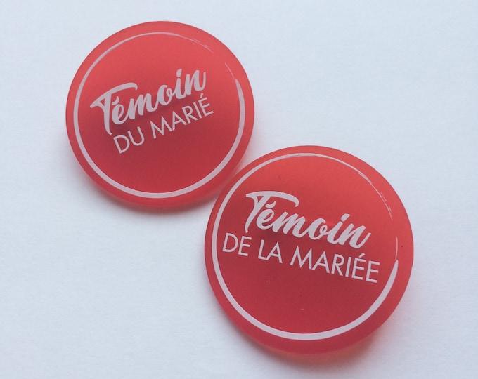 Badges aimantés colorés ronds (témoins/famille/prénoms)
