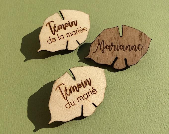 Badges aimantés en forme de feuille, en bois, gravure laser, personnalisable, pour témoins/famille/prénoms