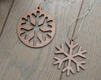 Lot de 2 décorations de Noël ou de sapin Flocons en bois découpé