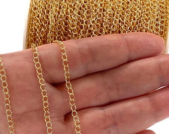 100 Meters Reel BULK!! 24Kt Gold Plated Extender Chain, 3mm Gold Plated Extender Chain, 100 Meters-330 Feet Extender Chain