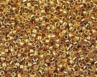 Miyuki Delica DB0031 Gold Size 15 11 10 24ct Gold Plated Bead 2g