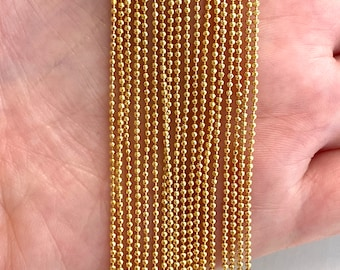 22k Rose Gold Plated Sterling Silver Diamond-Cut Ball Bead Chain 1.5mm 925 Italy Dog Tag Necklace