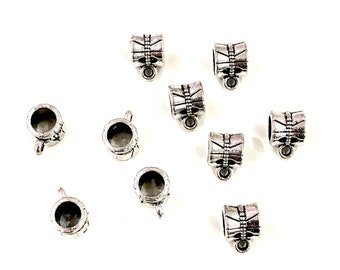 Silver Bails Large Hole Silver Spacers 10x5 mm Silver Spacers