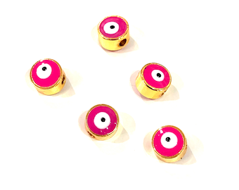 5 Pcs in a Pack 6mm 24K Gold Plated Evil Eye Beads 6mm 24K Gold Plated Evil Eye Spacers