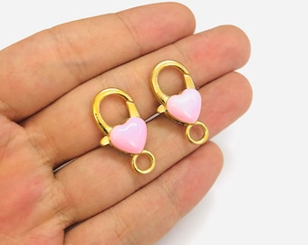 Brass Lobster Claw Clasp 24Kt Shiny Gold Plated Baby Pink Enamelled 35mm Lobster Clasps