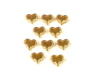 6mm Warm Gold Plated 20 Tiny Small Puffed Heart Charms