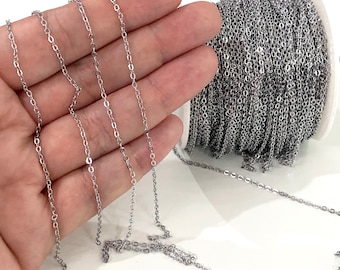 Silver Plated Necklace Chain 1 meter Silver Plated 3x5mm Chain