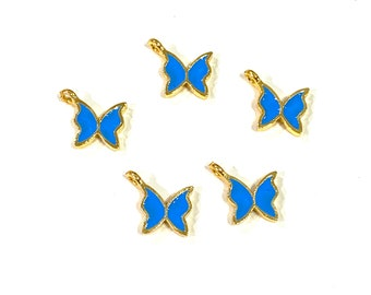 5 pcs in a Pack 24Kt Gold Plated Tiny Butterfly Red Enamelled Charms