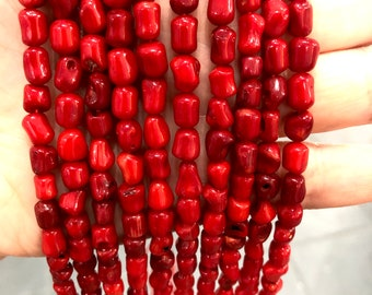 Genuine Red Coral 7x6mm Drop Beads, 60 Beads per strand