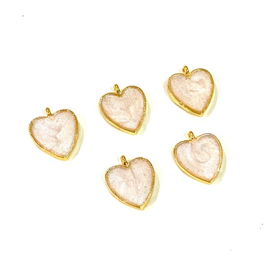 3 pcs in a pack 24Kt Shiny Gold Plated Heart Charms