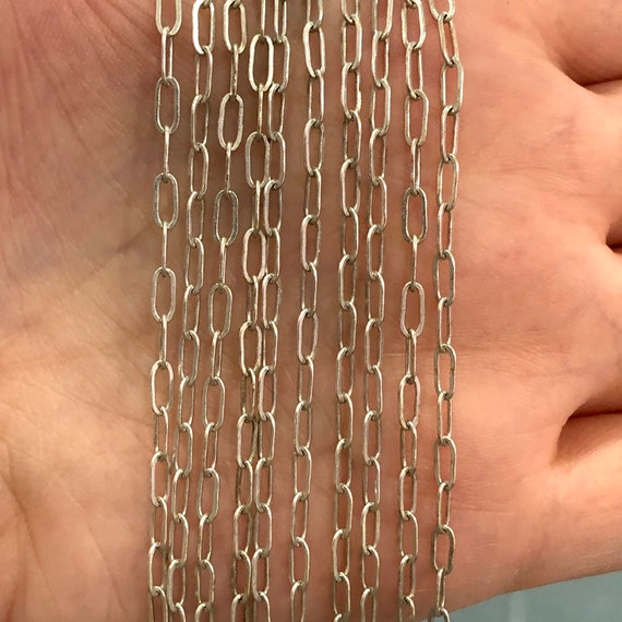 6x2.5 mm Silver Plated Chain, Silver Plated Brass Paperclip Chain