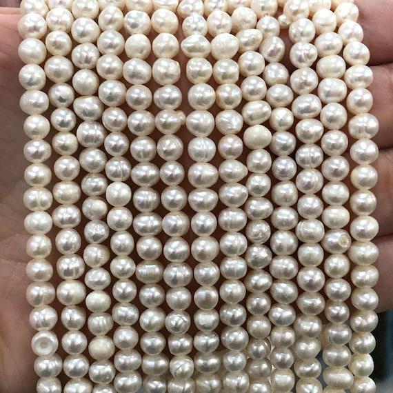 Natural Gemstone Ivory Potato Pearls 4-4,2mm Creamy White Freshwater Pearls