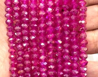 6mm Crystal faceted rondelle - 100 pcs -6 mm - full strand - PBC6C62, Crystal Beads, Beads, glass beads, beads ,crystal rondelle beads