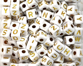 10mm Acrylic Cube Alphabet Beads, 100 pcs in a pack