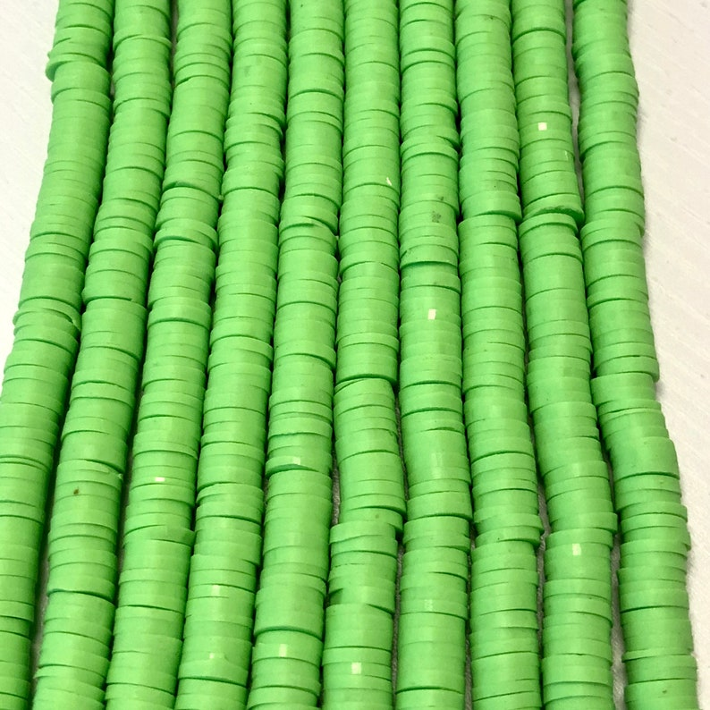 Polymer clay 6x1MM Vinyl Beads Chartreuse Heishi Beads