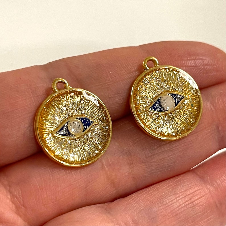24Kt Gold Plated Epoxy Enamelled Eye Charms 2 pcs in a pack