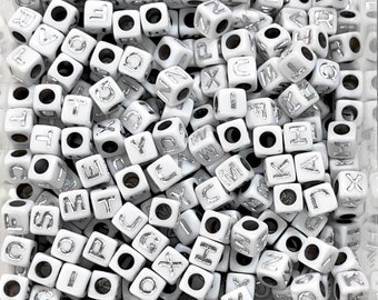 7mm Acrylic Cube Alphabet Beads, 500 pcs in a pack