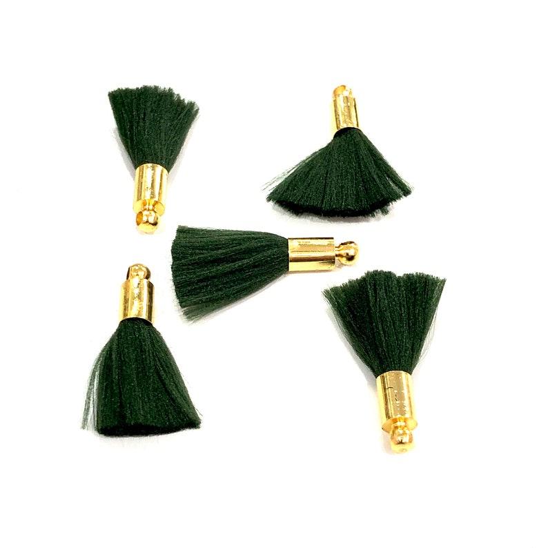 5 Tassels in a pack Emerald Mini Silk Tassels with 24k Gold Plated Caps