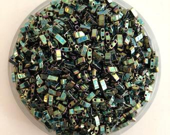 Miyuki Half Tila Beads HTL0468 Metallic Green Iris, miyuki beads, half tila beads, beads Japanese seed beads