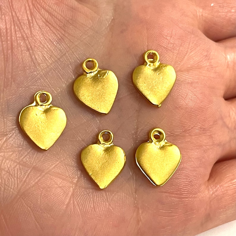 5 pcs in a pack 24Kt Matte Gold Plated 15mm Heart Charms
