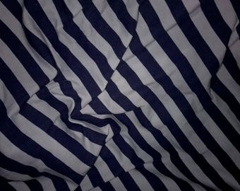 jersey viscose Navy blue white striped fabric 1.5 cm for sale by the yard