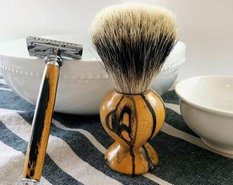 Custom Safety Razor Shaving Kit; Shaving Set; Shaving Brush; Wet Shave; Old School Shave; Badger Hair Brush; Gifts for Him