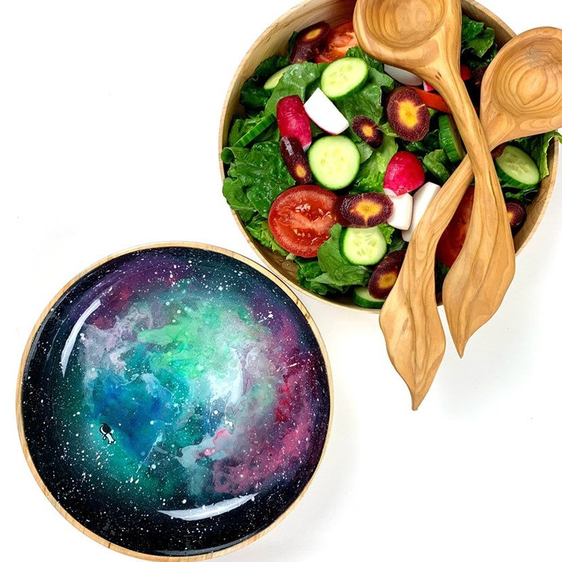 Customizable hand-painted hand-turned woden serving dish image 0