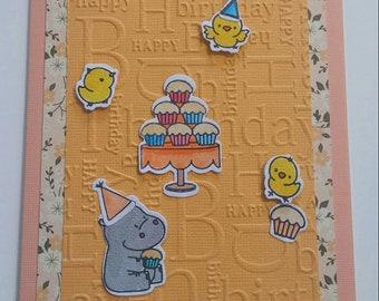 Birthday - hippopotamus cupcake card