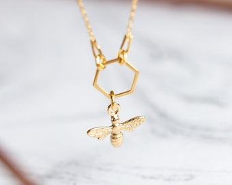 Hexagon Bee Necklace | Honey Bee Gold Necklace | 24k Gold Honeycomb Necklace | Hexagon Necklace | Honeycomb Jewelry |