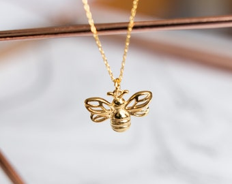 24k Gold Bee Necklace | Honey Bee Gold Necklace | 24k Gold Honeycomb Necklace | Bee Necklace | Honeycomb Jewelry |