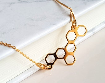 Honeycomb Gold Necklace | 24k Gold Honeycomb Necklace | Honey Jewelry | Hexagon Necklace | Honeycomb Jewelry |