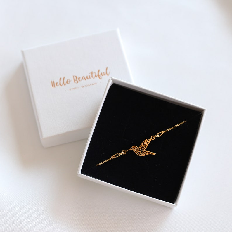 Gold Hummingbird Bracelet Bird Bracelet 24k Gold Bracelet Gold Hummingbird Charm Hummingbird Bridal Bracelet  