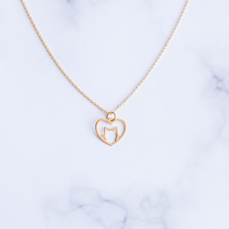 Animal jewelry Gold Cat Necklace Cat Lover Necklace kitten necklace Dainty Cat Gift for Her Dainty Gold Cat Jewelry heart necklace