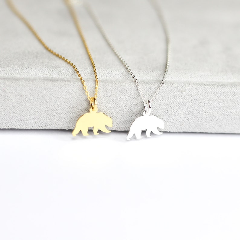 Sterling Silver Bear Necklace Bear Necklace 925 Sterling Silver Dainty Mama Bear Necklace Animal Necklace Wild Animal |