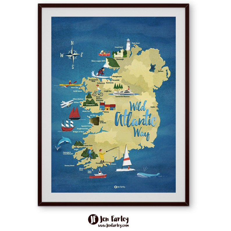 Printable Ireland Map Wild Atlantic Way Map Original image 0