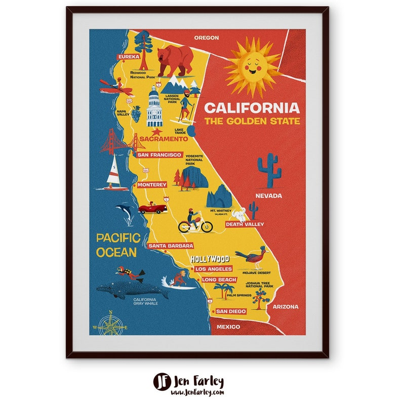 Illustrated Map Of California Cute Golden State Map Kids Wall Art Home Decor Original Art Print