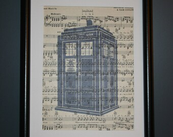 Vintage Antique Music Book Wall Art Print Picture - Dr Who - TARDIS