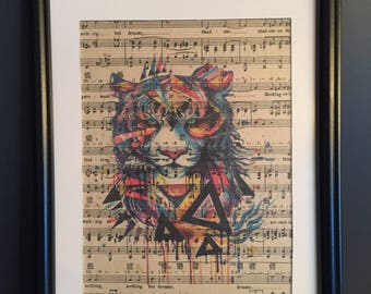Vintage Antique Music Book Wall Art Print Picture - TRIBAL COLOUR TIGER
