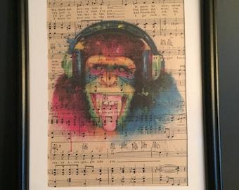 Vintage Antique Music Book Wall Art Print Picture - COLOUR MONKEY DJ