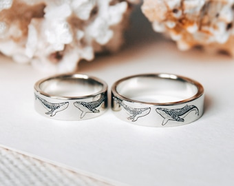 Whale rings  for couples - Ocean Ring - Promise Ring - Fancy Wedding Rings - Couple of whales in love