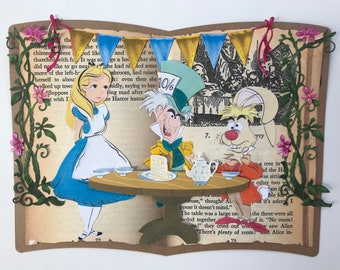 Alice in Wonderland handmade card.