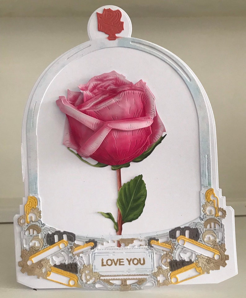 Glass Dome Bell Jar With Rose.Shaped Card With 3D Decoupaged Rose.