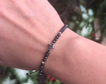 18k White Gold & Black Spinel Bracelet