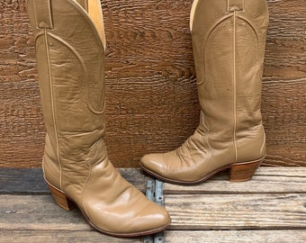 4b6ed60ce26d JUSTIN BOOTS Vintage Leather Cowgirl Western Tall Cowboy Boots Women s 7B
